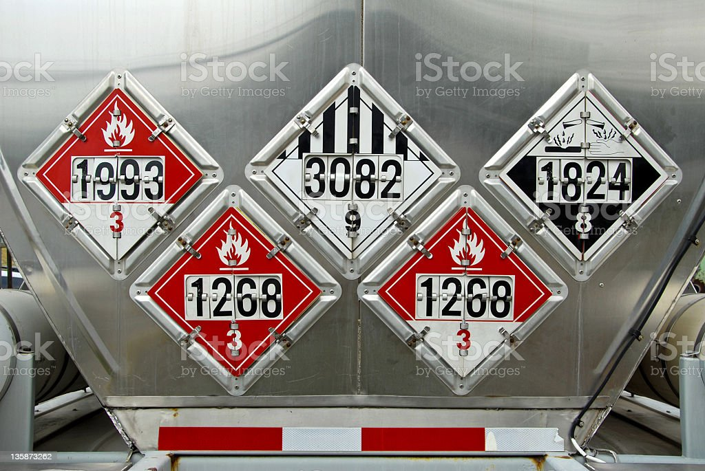 Numbered black and red transportation placards stock photo