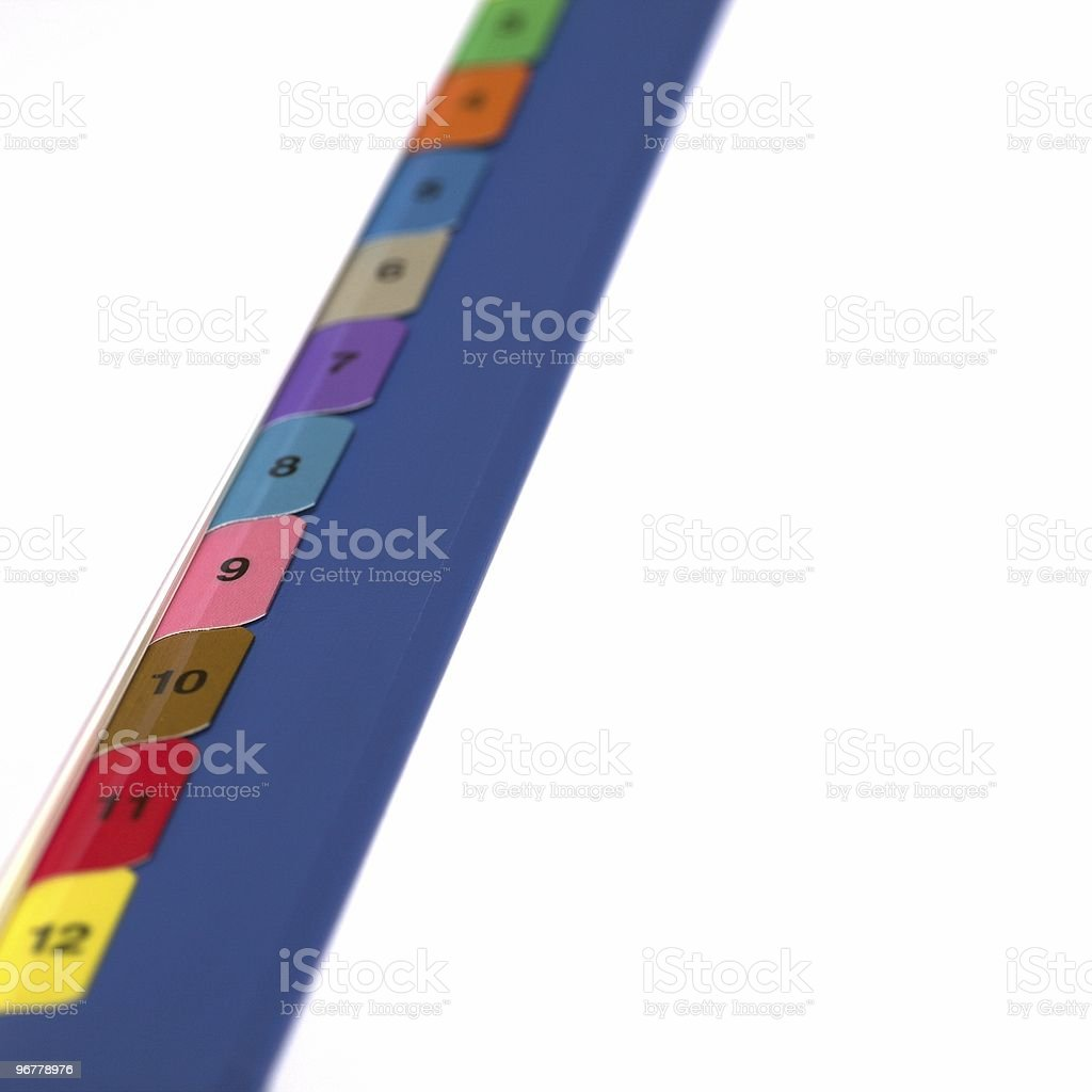 Numbered File Dividers royalty-free stock photo