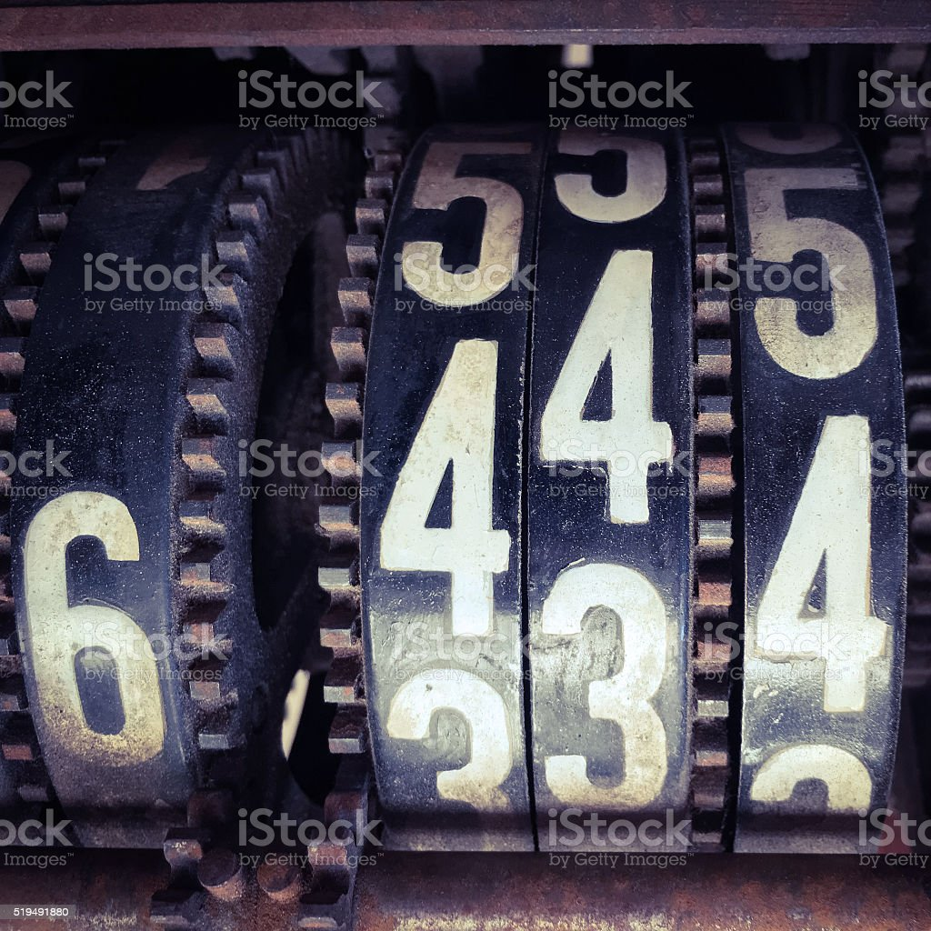 Numbered gears stock photo