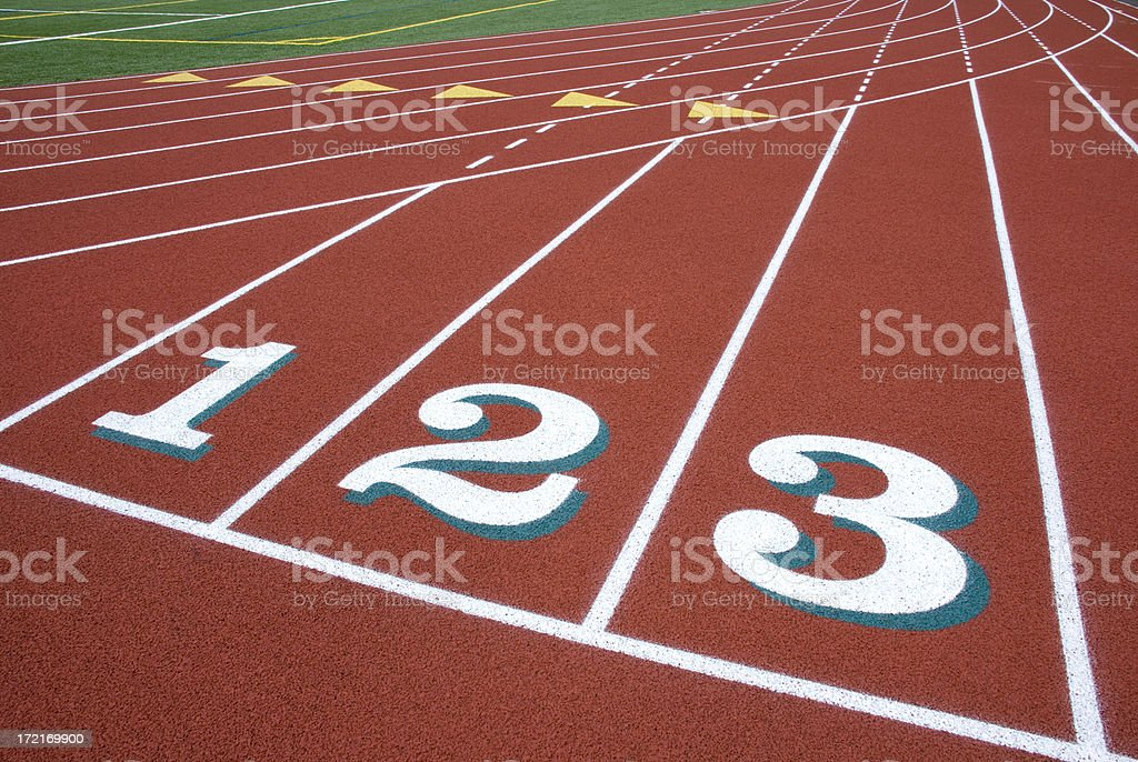 Numbered Lanes at Running Track royalty-free stock photo
