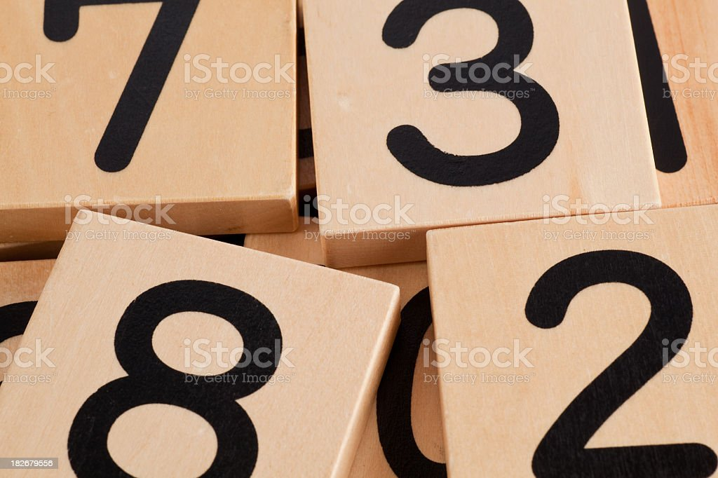 Numbered tiles stock photo