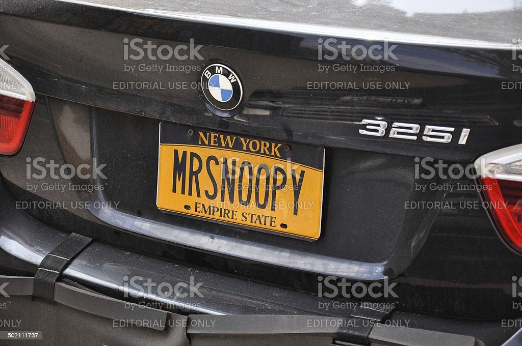 'MRSNOOPY' numberplate - New York, USA stock photo