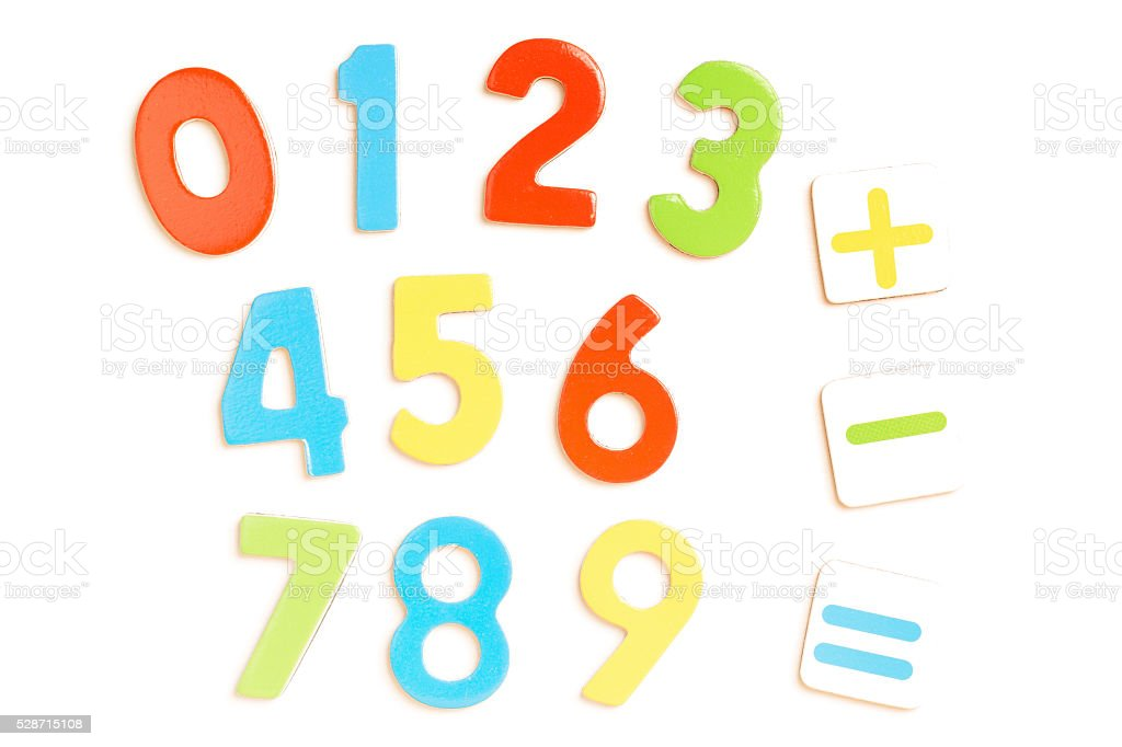 Numbers 0-9 with Math Symbols stock photo