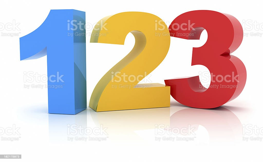 Numbers 123 stock photo