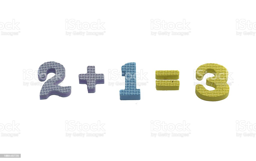 Numbers 2 + 1 = 3 stock photo