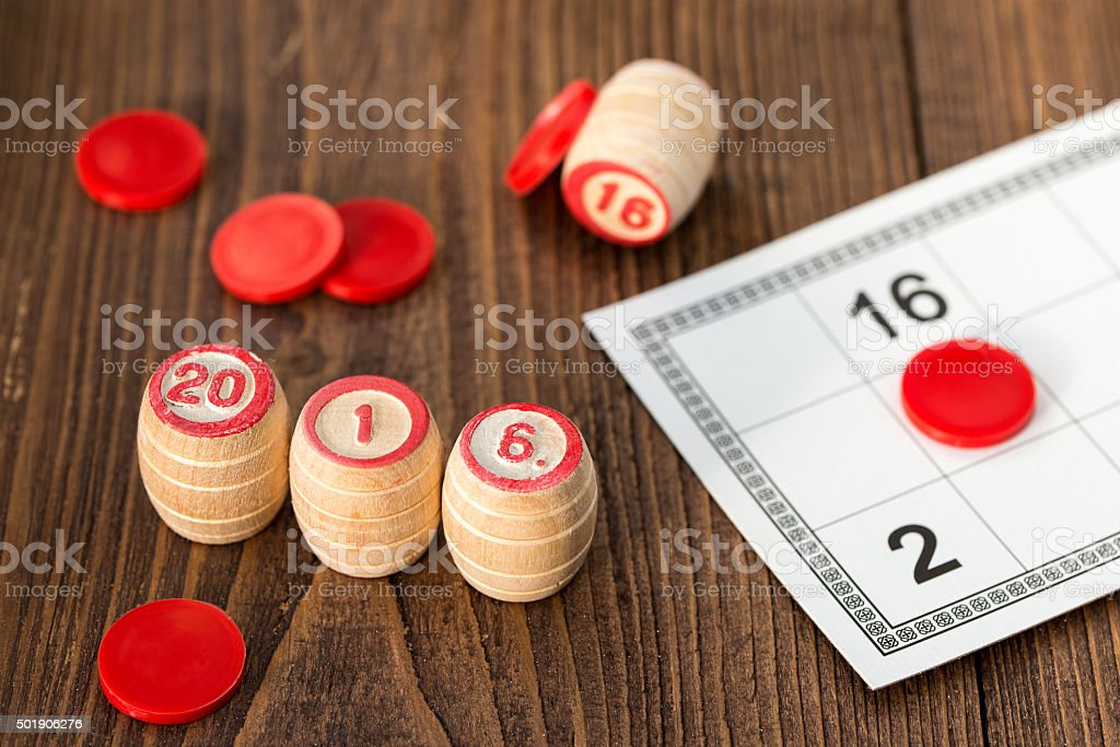 Numbers 2016 on the kegs for Lotto or bingo game stock photo
