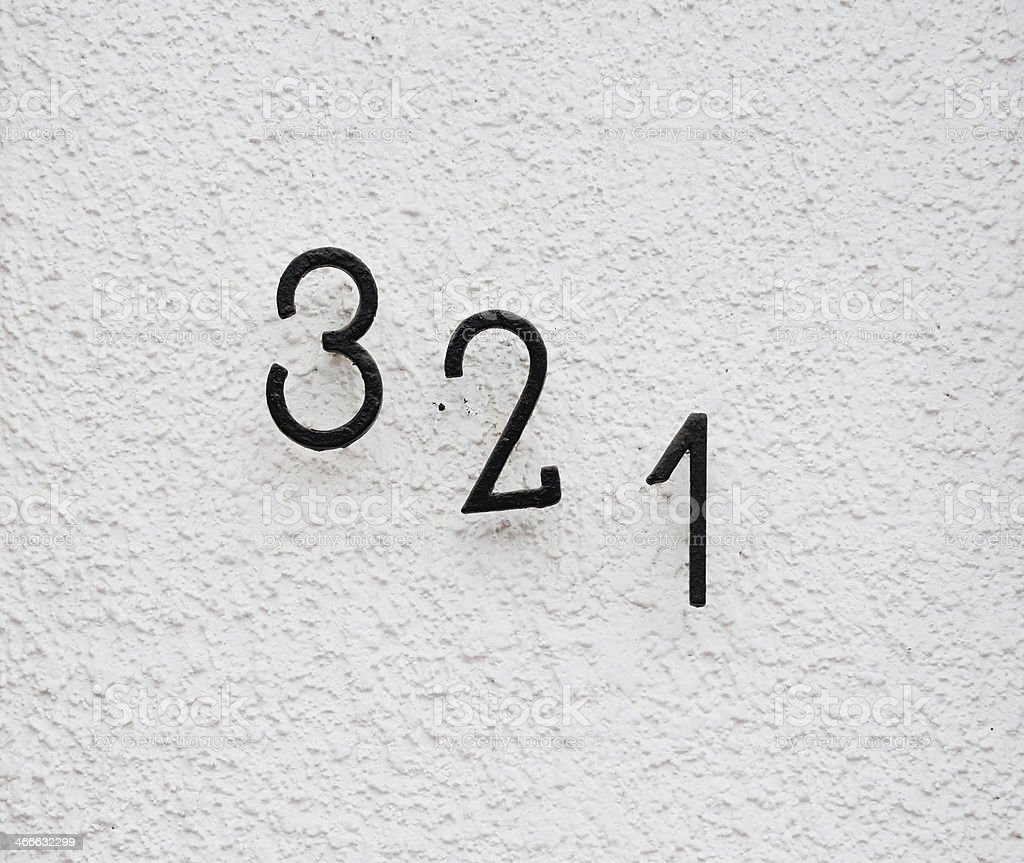 Numbers 321 on wall royalty-free stock photo