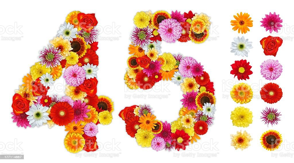 Numbers 4 and 5 made of various flowers stock photo