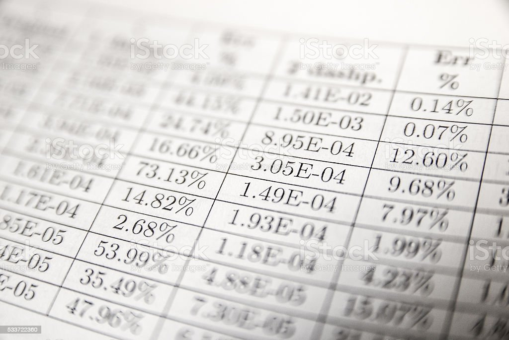 Numbers and data on paper stock photo