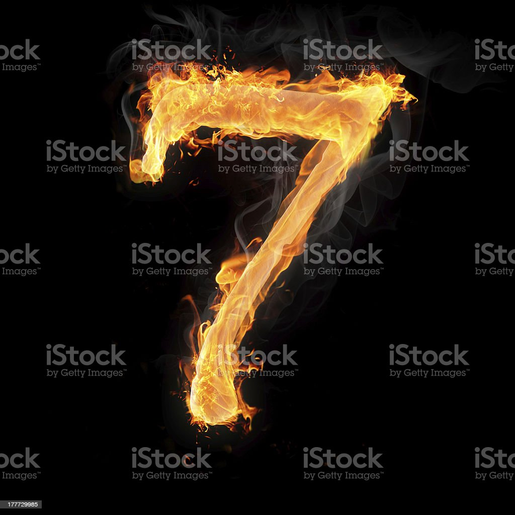 Numbers and symbols on fire stock photo