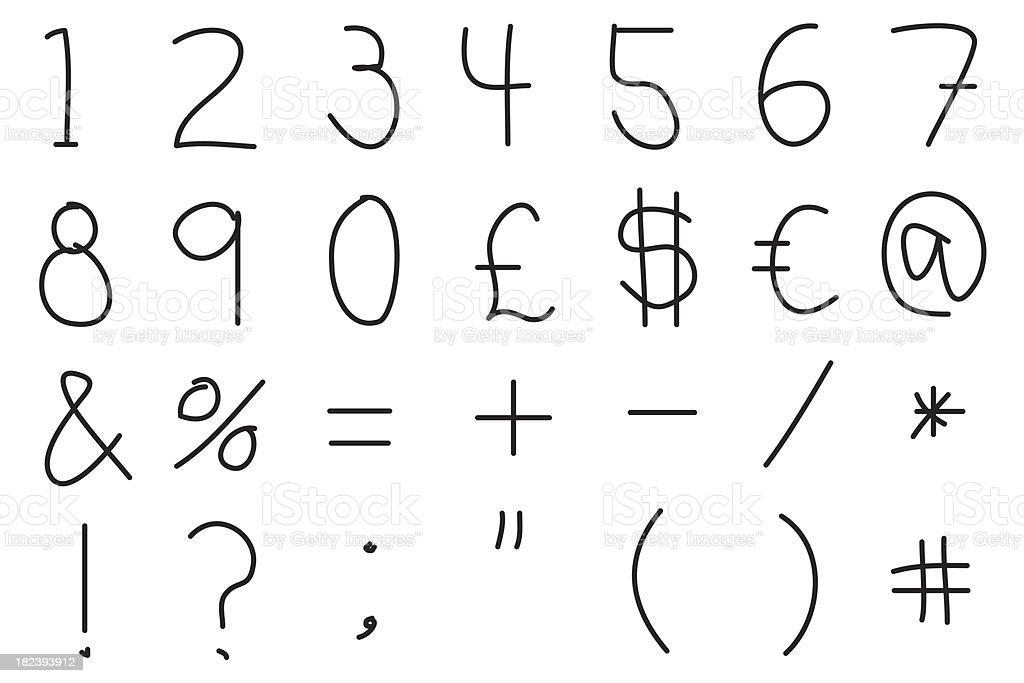 Numbers and symbols XXL stock photo