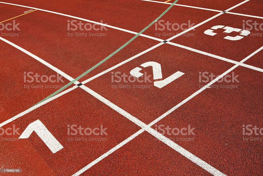 Numbers at a running track stock photo