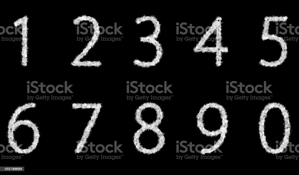 numbers cloud on black background royalty-free stock photo