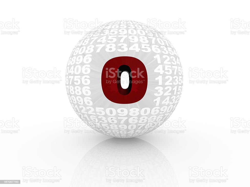 3D numbers forming a sphere isolated on white background. stock photo