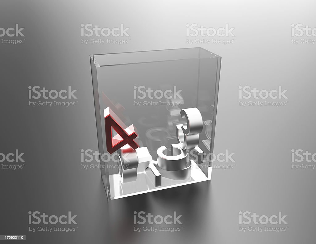 Numbers in Glass Box royalty-free stock photo