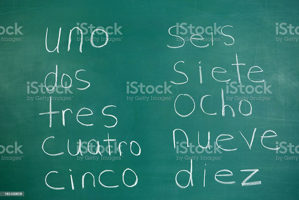 Numbers in Spanish on Chalkboard royalty-free stock photo