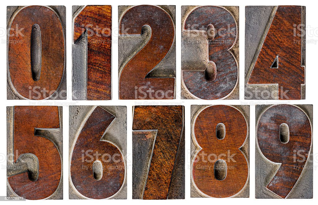 numbers in wood type stock photo