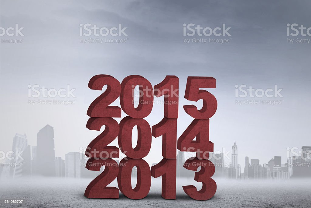 Numbers of 2013, 2014, and 2015 stock photo