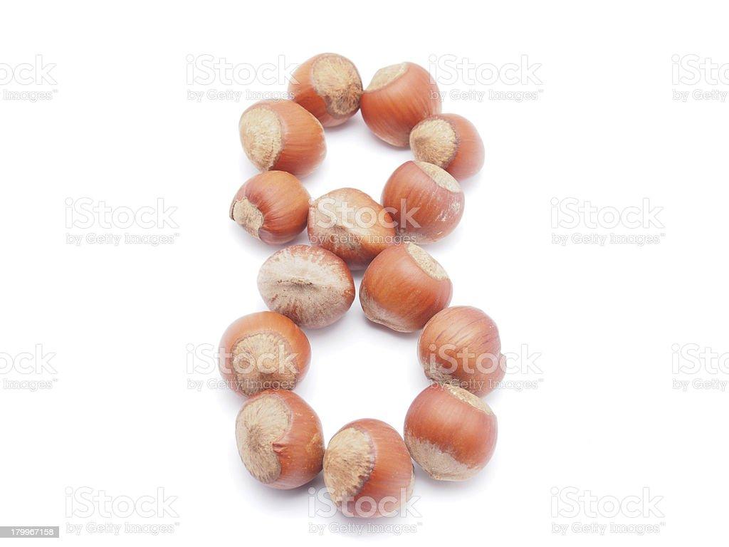numbers of hazelnut royalty-free stock photo