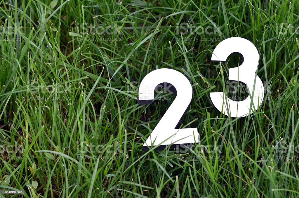 Numbers on a grass stock photo