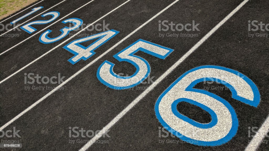Numbers on a track field stock photo