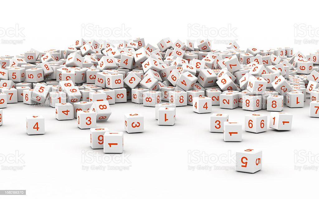 Numbers on a white plane (isolated on-white) royalty-free stock photo