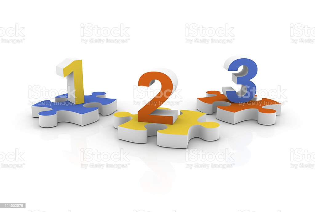 Numbers on Jigsaw Pieces royalty-free stock photo