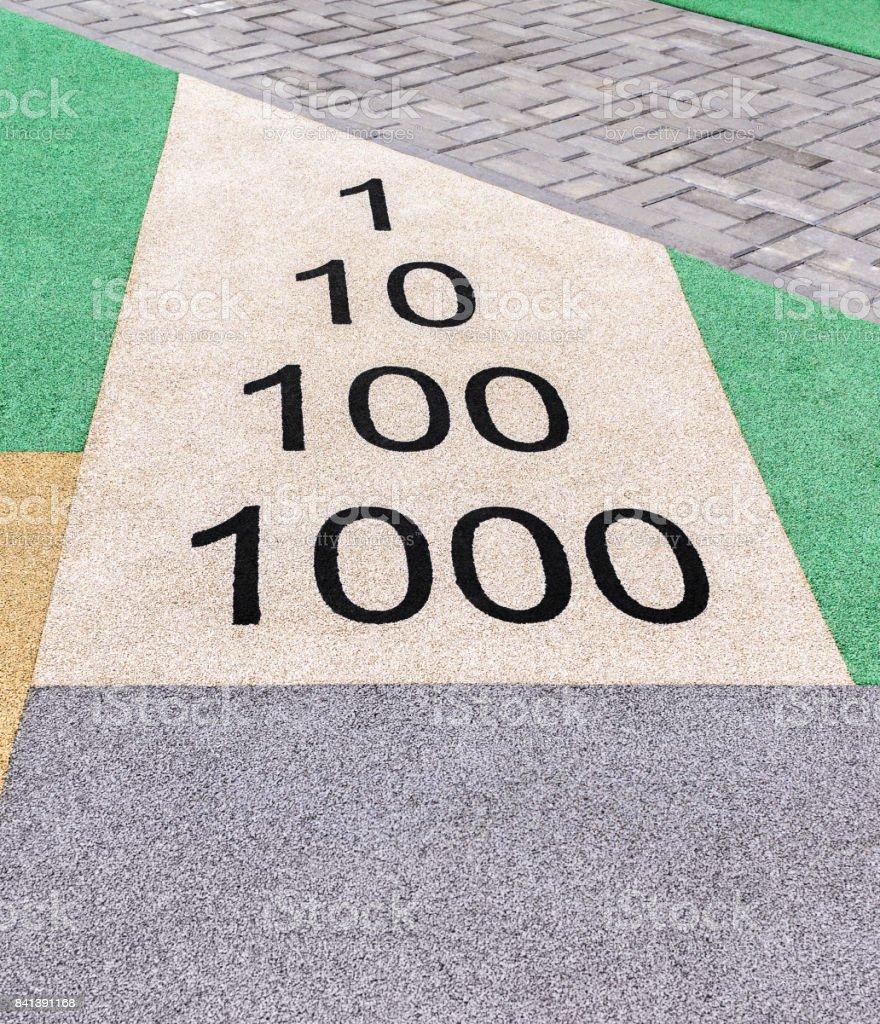 Numbers on playground stock photo