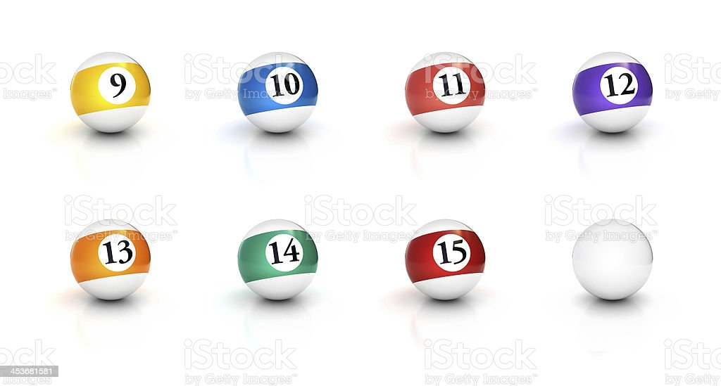numbers on pool Billiards balls icon set 2 royalty-free stock photo