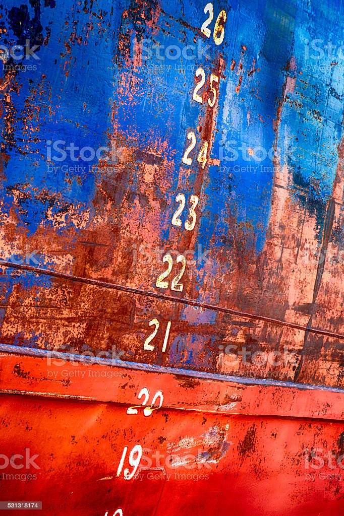 Numbers on the side of a ship. stock photo