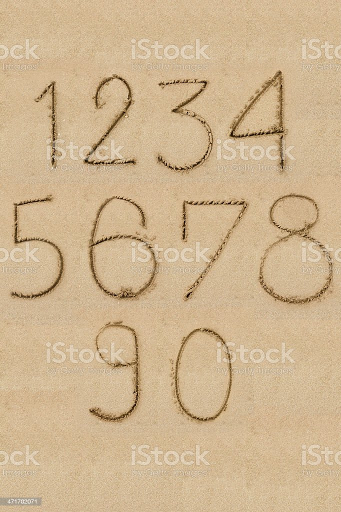 Numbers one to zero written on sand royalty-free stock photo
