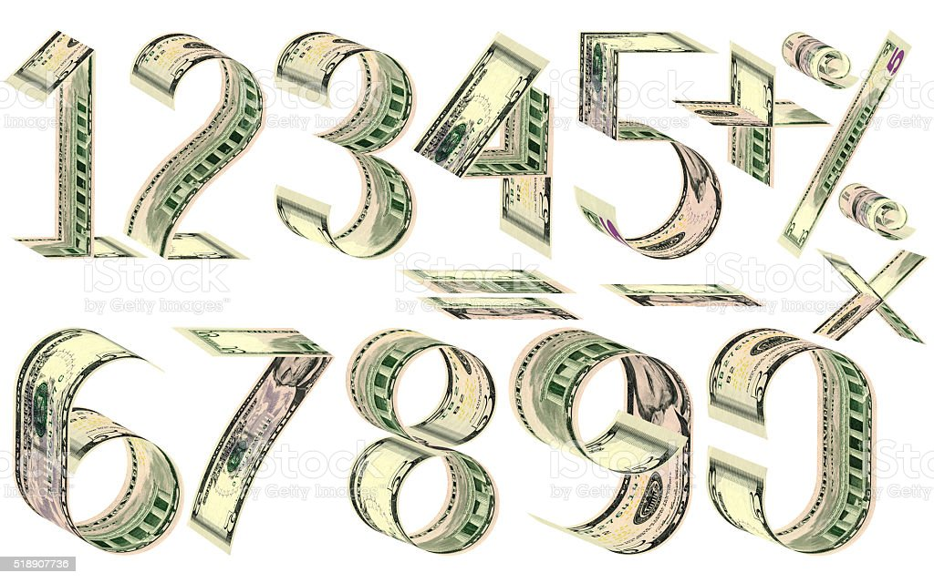 Numbers, percent and mathematical signs from dollars stock photo