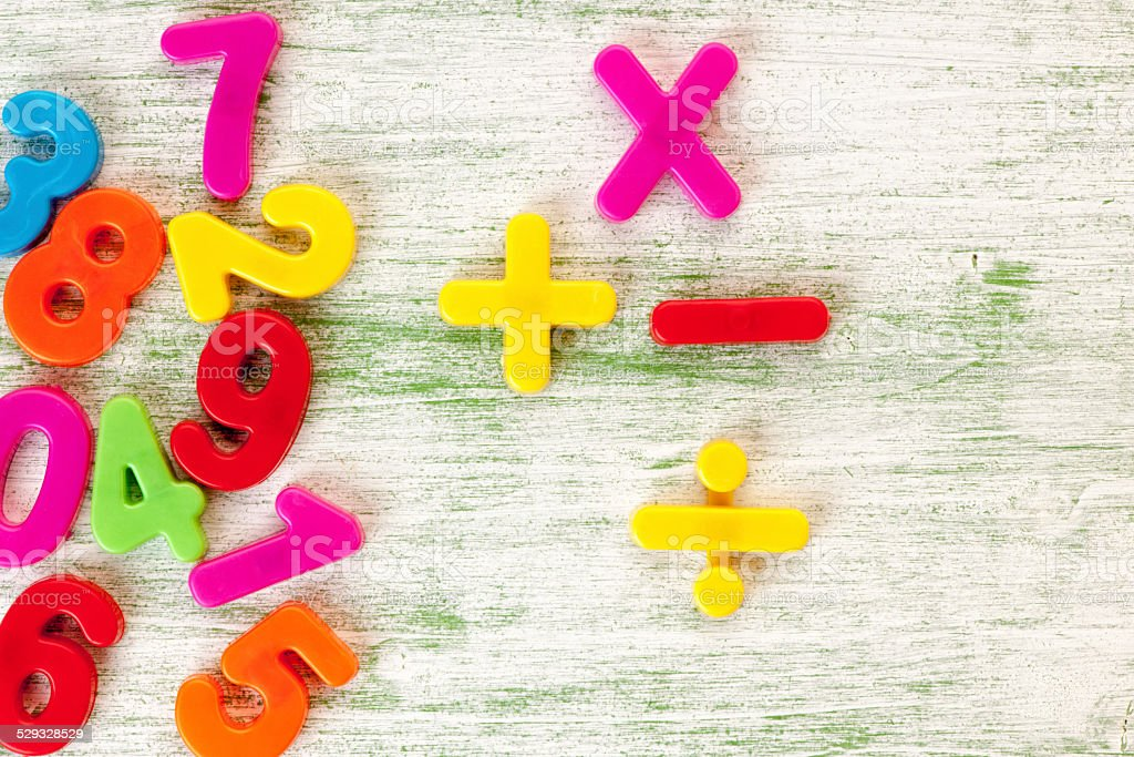 Numbers plank wood background stock photo