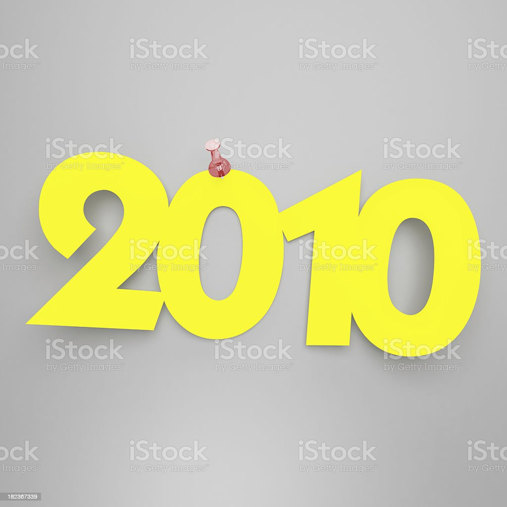 3D 2010 Numbers with Thumbtack royalty-free stock photo