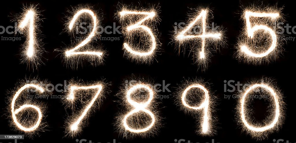 Numbers written with a sparkler stock photo