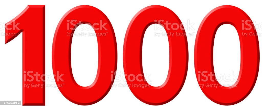 Numeral 1000, one thousand, isolated on white background, 3d ren stock photo