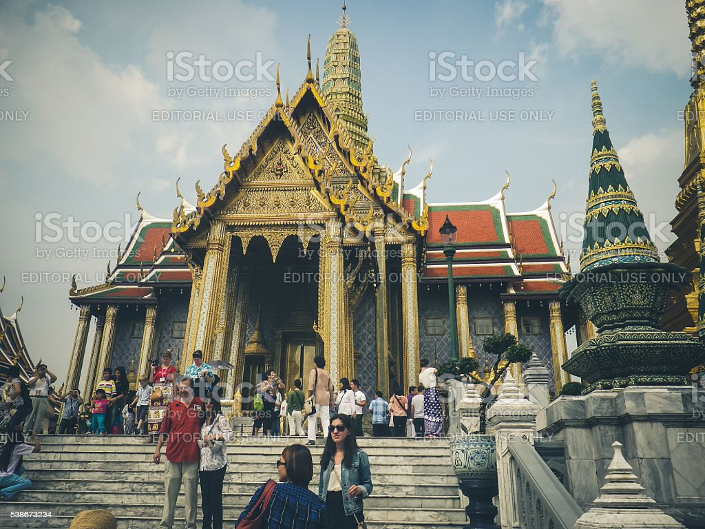 Numerous Tourists outside Grand Palace, Bangkok, Thailand stock photo