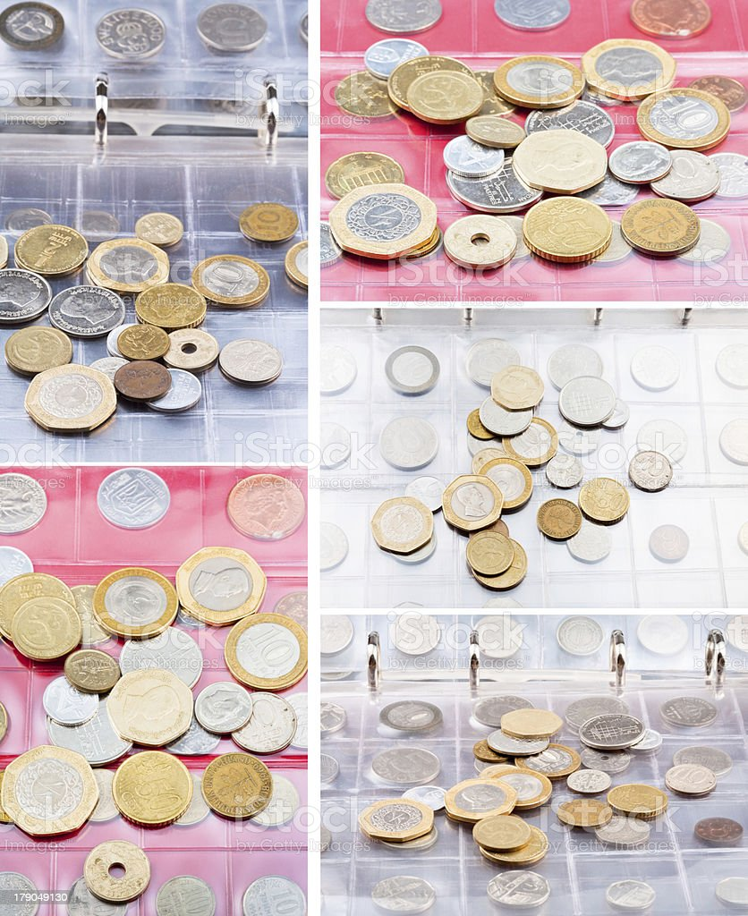 numismatic album with different coins stock photo