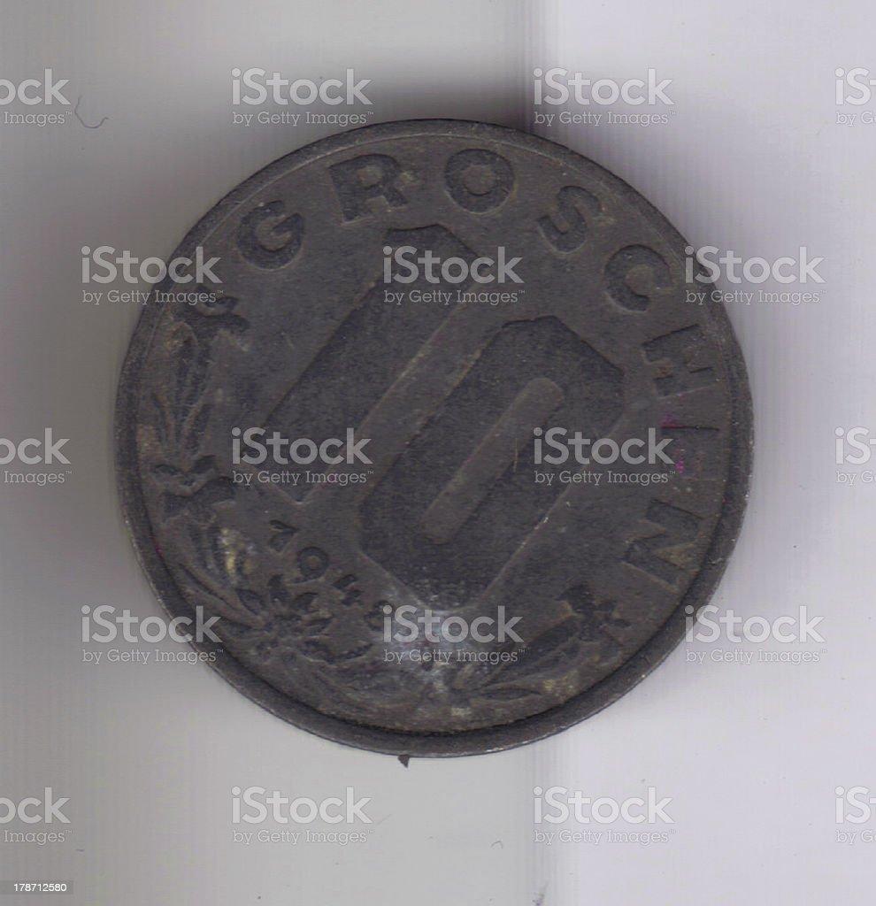 Numismatic Coin: 1948 10 Groschen Germany Oxidized Denomination View stock photo