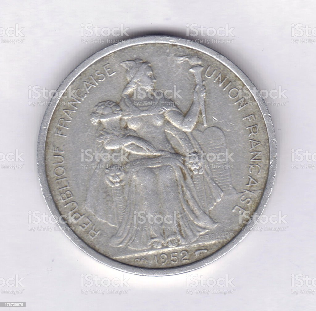 Numismatic Coin: 1952 French Oceania 5 Francs Obverse KM#4 (67114) royalty-free stock photo