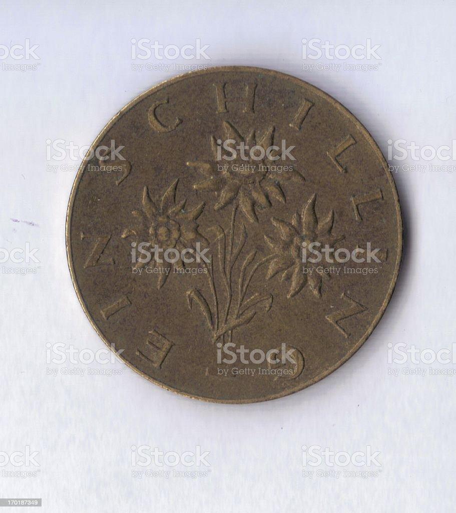 Numismatic Coin: Austria 1965 1 Schilling Flower View stock photo
