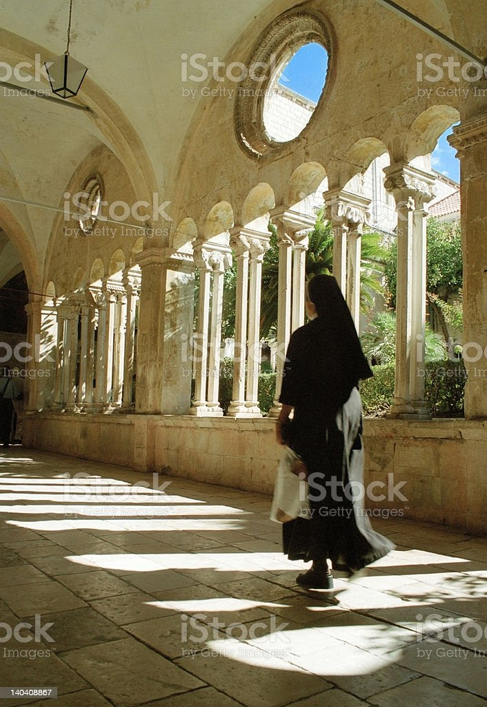 Nun, Franciscan Monastery, Dubrovnik, Croatia stock photo