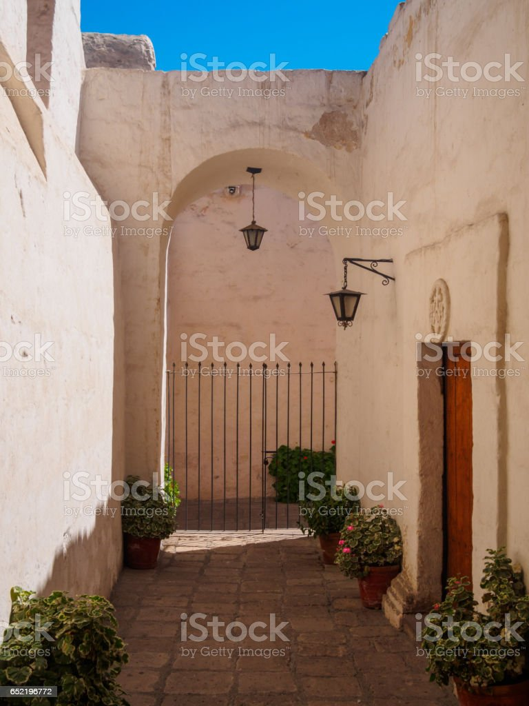 A nun house in Santa Catalina of Siena Convent of Arequipa, Peru stock photo