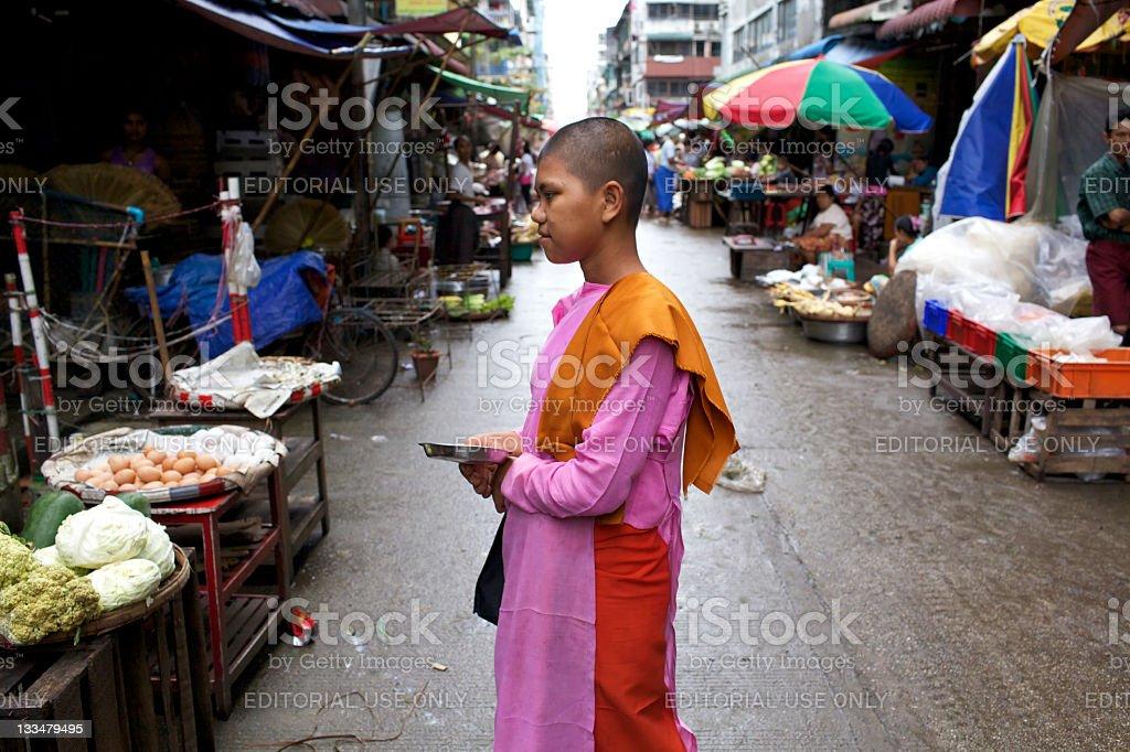 Nun in Yangon, Burma royalty-free stock photo
