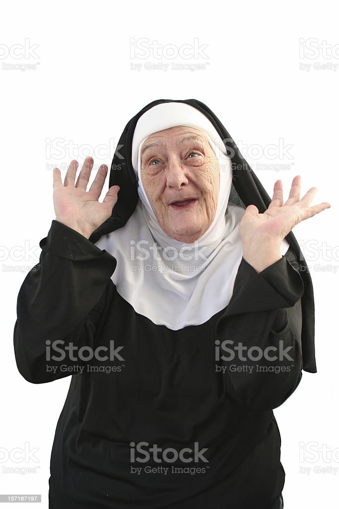 nun series - silly me stock photo