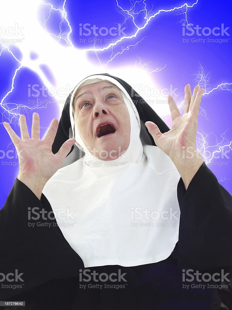 Nun Series - What did I do? royalty-free stock photo