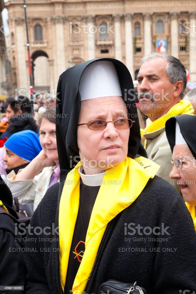 Nuns during beatification Jean Paul II stock photo