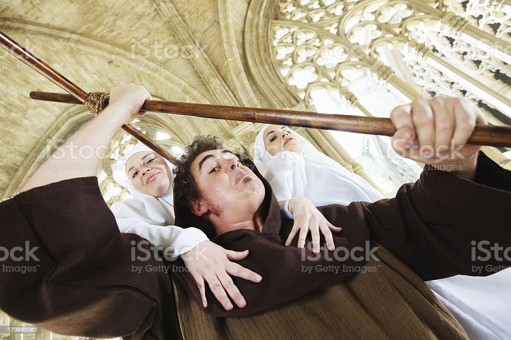 nuns seducing a monk royalty-free stock photo