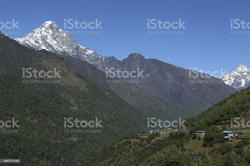 nupla peak and nurring village from nepal stock photo