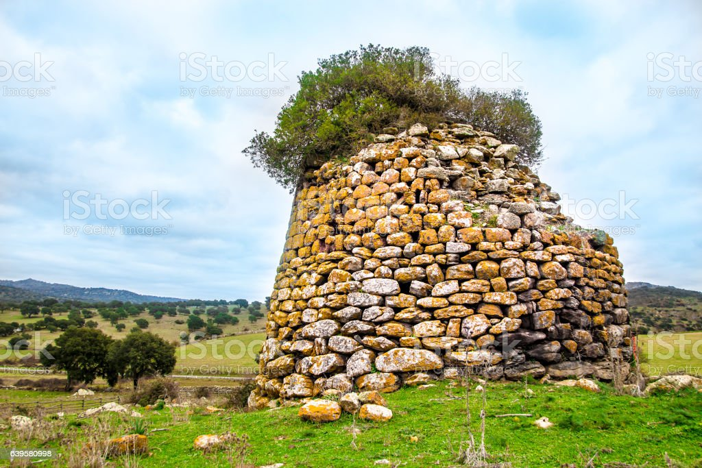 Nuraghe, the main type of ancient edifice in Sardinia stock photo
